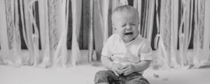 Sam crying at his first birthday photo shoot