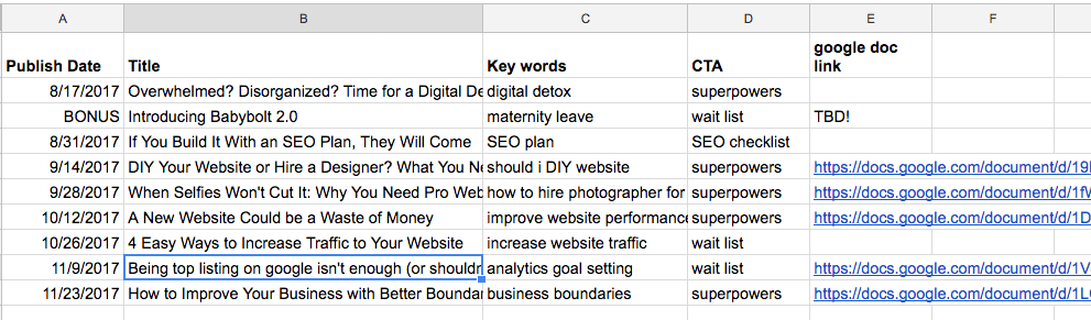 My SEO Plan & editorial calendar for the rest of the year
