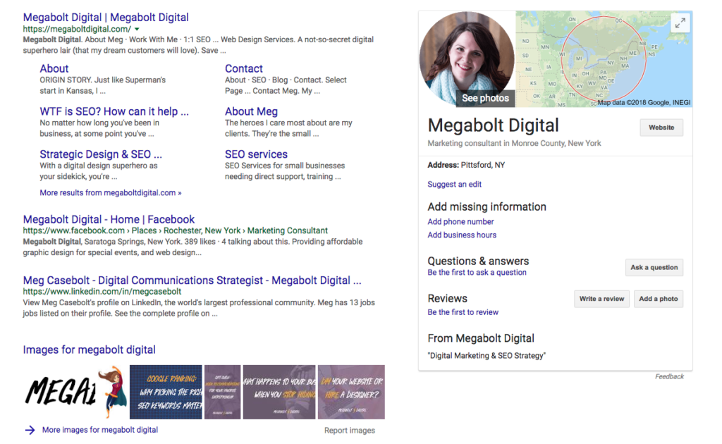 Screen shot of my Google My Business profile sidebar