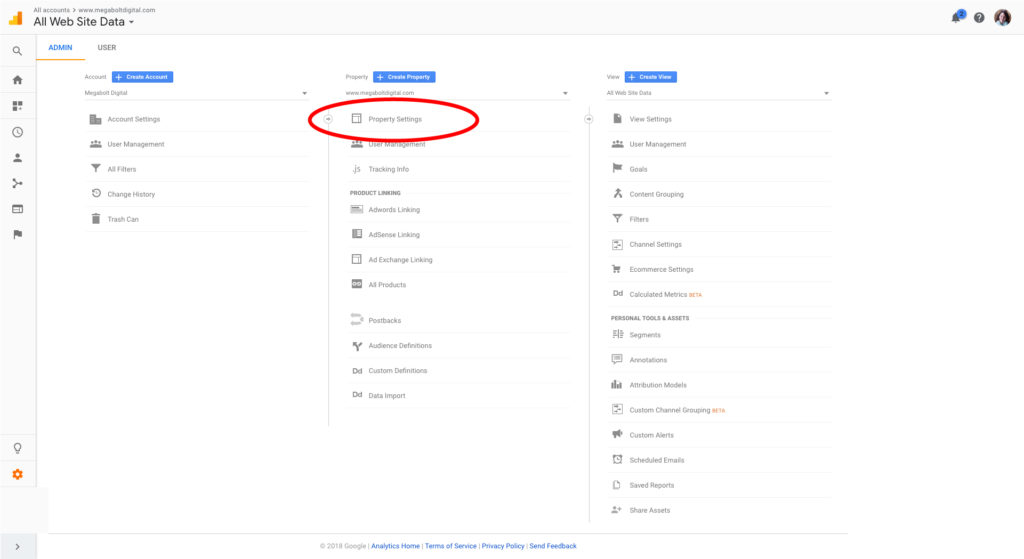 Install Google Search Console, step 1: log into your Google Analytics account and click on the gear in the lower left hand corner; then in the second column click: Property Settings.