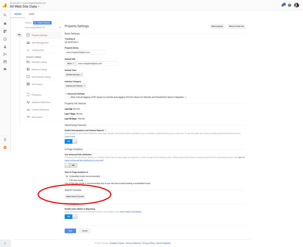 Install Google Search Console, step 2: Scroll about 3/4 down the page until you see