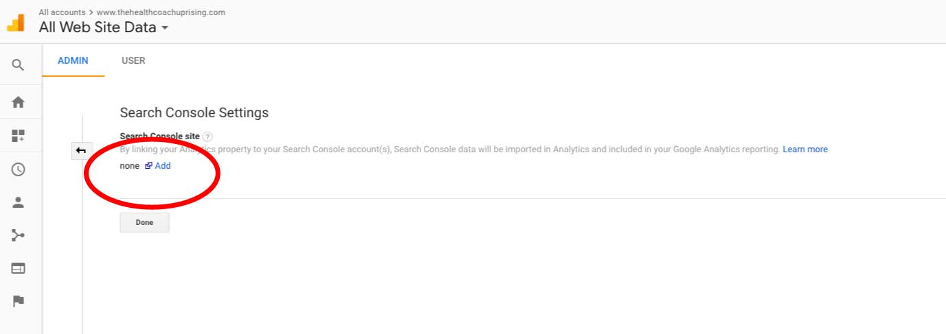 Install Google Search Console, step 3: Once you're on the Search Console Settings, next to the word