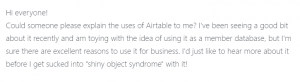 Screenshot of question about how to use Airtable to organize your life