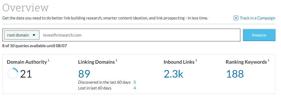 Moz Link Explorer screenshot displays Domain Authority score, number of inbound links and linking domains, and ranking keywords