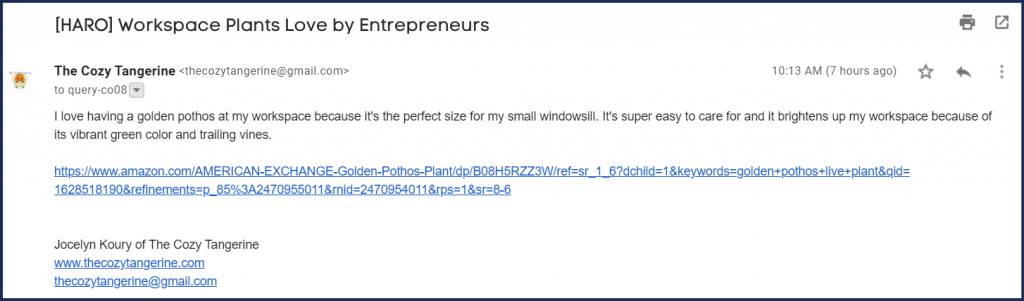 email response to HARO query