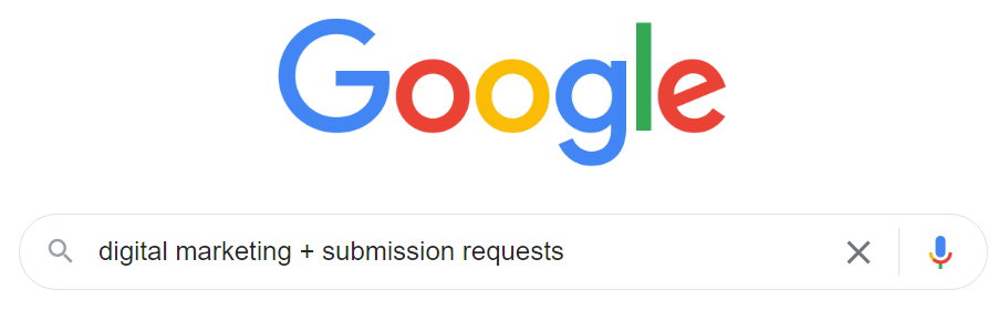 """screenshot of a google search for """"digital marketing + submission requests"""""""