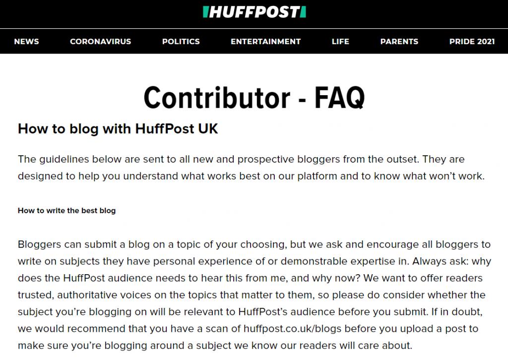 Huffington Post contributor FAQs